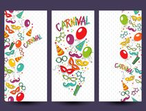 Carnival template. Festive page with carnival icons and objects. Vector party poster template Stock Image