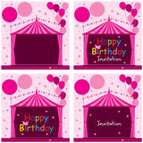 Carnival tent circus pink birthday invitation set Stock Photos