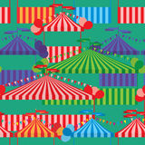 Carnival tent colorful seamless pattern. This illustration is design carnival tents with colorful colors and balloon decoration in green color background vector illustration