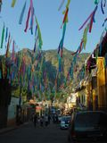 Carnival of Tepoztlan. One street of Tepoztlan, a little town in Mexico. Evey year the people organize a carnival during a week in February. This photo shows a Stock Image