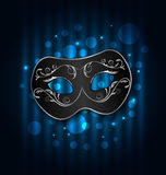 Carnival or theater mask on blue shimmering background stock illustration
