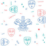 Carnival, theater masks pattern. Royalty Free Stock Images