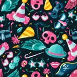 Carnival things seamless patternseamless pattern of a square frame on a dark background carnival things and attributes vector illustration