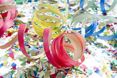 Carnival time. Confetti and streamers to celebrate carnival royalty free stock image