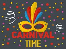 Carnival time logo, flat style. Carnival time logo. Flat illustration of carnival time logo for web Vector Illustration