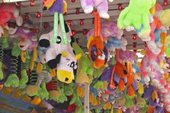 Carnival Toys. Toys hanging as prizes for games at the fair or carnival stock images