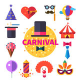 Carnival tricks, sweets and smiles. Hat, ice cream, tent, balloon, clown, mask, tie, party poppers. Vector flat icon set, badge and illustrations Royalty Free Stock Photo