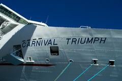 Carnival Triumph Name Sign from Front Bow. Taken from while ship was in port at Cozumel, Mexico. Taken in January 2013 Royalty Free Stock Photo