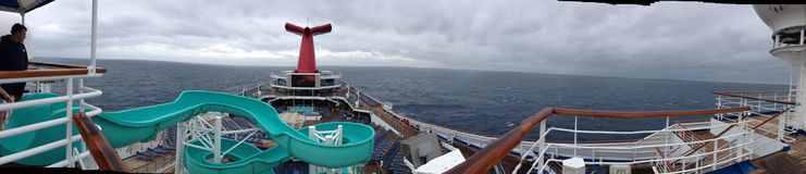 Carnival Triumph Panaroma Shot Taken from Top Deck. While at sea in the Gulf of Mexico. Taken in January 2013 Stock Photography