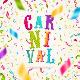 Carnival type design and falling multicolored confetti. Royalty Free Stock Photo