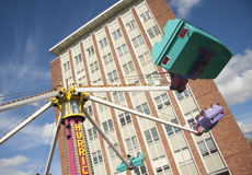 Carnival. On a university campus with rides on a nice sunny spring day royalty free stock photo