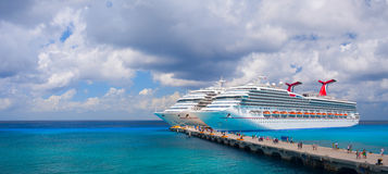 Carnival Valor, and Carnival Conquest are docked in the touristic mexican port. Over 6,000 guests went out to visit Mexico Stock Photos