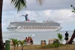 Carnival Valour Cruise ship from Bay Stock Photo