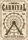 Carnival ferris wheel vector invitation poster. Carnival vector invitation poster in retro style with ferris wheel for advertisement amusement parks. Layered Stock Photography