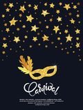 Carnival vector poster with golden mask and stars. Festival design Stock Photo