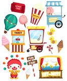 a carnival vector set with many carnival items and object stock illustration