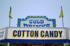 Carnival vendor signage. Carnival vendor sign for cold drinks, cotton candy Stock Image