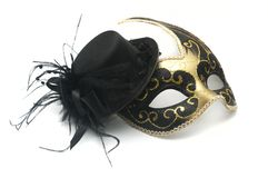 Carnival venetian mask and woman hat on white background royalty free stock photography