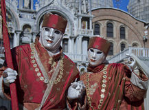 Carnival Venice. Each day the masked present their masks during carnival 2013. Clothed in fantastic costumes on San Marco stock photo