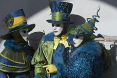 Carnival Venice. Each day the masked present their masks during carnival 2013. Clothed in fantastic costumes on San Marco stock image