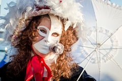Carnival of Venice masks. VENICE, ITALY - FEBRUARY 27, 2014. Unidentified person in Carnival mask in Venice, Italy on February 2014 Royalty Free Stock Image