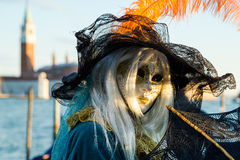 Carnival of Venice masks. VENICE, ITALY - FEBRUARY 27, 2014. Unidentified person in Carnival mask in Venice, Italy on February 2014 Royalty Free Stock Photos