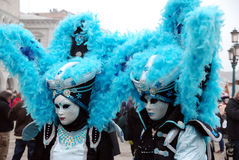 Carnival in Venice. Masks. People wearing masks at a carnival in Venice. VENICE, ITALY - FEBRUARY 21, 2017. Unidentified people in Carnival time Royalty Free Stock Image