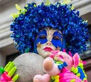 Carnival Venitien d Annecy 2013 - Blue Head Dress Stock Images