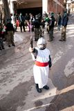 CARNIVAL IN VEVCANI, MACEDONIA. VEVCANI, MACEDONIA - JANUARY 13, 2012: A boy dressed up as a knight during the Vevcani Carnival in southwestern Macedonia Royalty Free Stock Photos