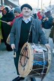 CARNIVAL IN VEVCANI, MACEDONIA. VEVCANI, MACEDONIA - JANUARY 13, 2012: A street drummer at Vevcani Carnival, southwestern Macedonia Stock Images