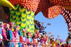 Carnival of Viareggio. VIAREGGIO, ITALY - 10 FEBRUARY 2013 : the parade of carnival floats with masked dancing people on street of Viareggio, February 10, 2013 royalty free stock photos