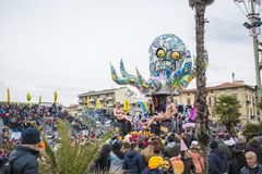 Carnival of Viareggio. VIAREGGIO - FEB 15: Allegorical float on the path of Viareggio at the Carnival of Viareggio February 15, 2015 in Viareggio, Italy royalty free stock photo