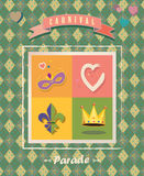 Carnival vintage festive sign. Vintage Carnival Mardi Gras, Festival card frame, border, festive poster background design. Retro style Holiday icons, symbols Royalty Free Stock Photography