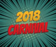 Carnival vintage poster pop art comic text. Venice, Brasil speed line festive party poster. Vintage color flag type vector illustration. Carnival vintage poster Royalty Free Stock Images