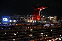 The Carnival Vista Cruise Ship lit up at night. San Juan, Puerto Rico - February 28, 2017: The Carnival Vista docked at San Juan. Delivered in 2016 it is the Royalty Free Stock Images