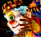 Carnival. Wagon with papier-mâché caricatures of royalty free stock image