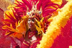 Carnival, Woman, Costume, Orange Royalty Free Stock Photography