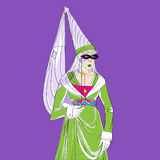 Carnival woman costume. Carnival outfit inspired by a medieval costume, hand drawn cartoon illustration over a purple background, Mardi Gras card Stock Photos