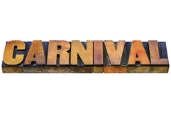 Carnival word in letterpress wood type Stock Images
