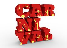 Carnival word and silhouettes on them. Halloween theme background. 3D rendering Stock Image
