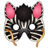 Carnival zebra mask on face drawn in cartoon style. Masquerade, carnival accessories. Vector illustration isolated on white background Royalty Free Stock Photography