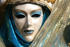 Carnevale Mask Close Up. A Carnevale Masquerade costume from Carnevale 2009 in Venice, Italy Royalty Free Stock Photo