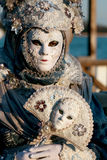 Carnevale Masquerade. A Carnevale Masquerade costume in blue and white flowers from Carnevale 2009 in Venice, Italy Stock Photography