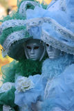 Carnevale Masquerade. A pair of Carnevale Masquerade costumes in blue and green from Carnevale 2009 in Venice, Italy Stock Photography