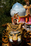 Carnivals float. Performer at Mardi Gras parade in Mexico stock image