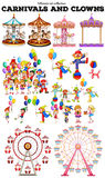 Carnivals objects and clowns. Illustration Royalty Free Stock Image