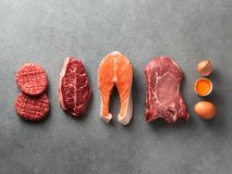 Free Carnivore Or Keto Diet, Zero Or Low Carb Concept, Top View Royalty Free Stock Images - 163147819