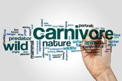 Carnivore słowa chmury pojęcie na popielatym tle Obrazy Stock
