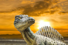 Carnivorous Dinosaur from side. Carnivorous Dinosaur from side study findings construction Royalty Free Stock Image