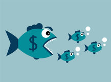 Carnivorous fish with dollar Royalty Free Stock Images